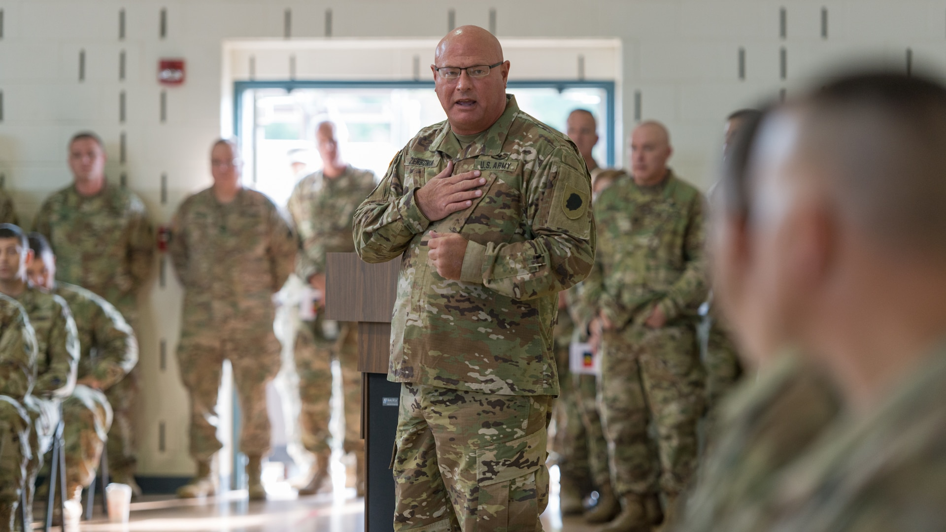 Major General Michael Zerbonia, Assistant Adjutant General – Army of the Illinois National Guard and Commander of the Illinois Army National Guard addresses assembled guests at the 33rd Infantry Brigade Combat Team change of command in 2017. Zerbonia, who has served in the U.S. Army and Illinois Army National Guard for nearly 40 years, will retire at the end of July.