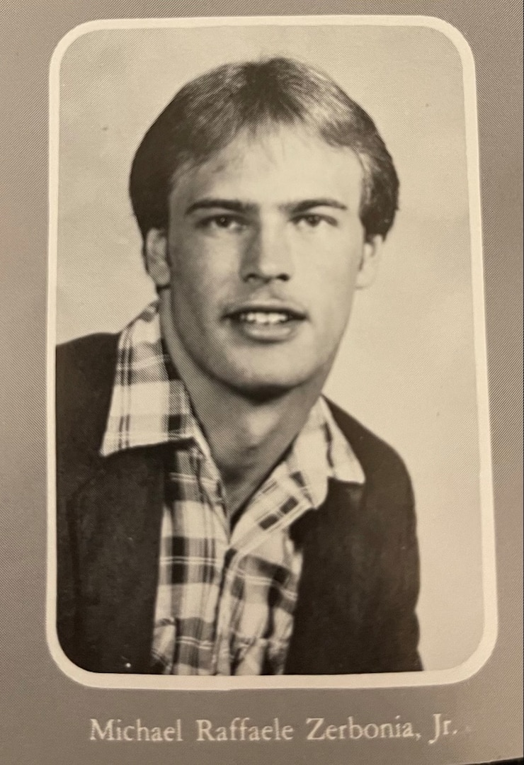 A high school yearbook photo of Michael R. Zerbonia, Jr. Major General Zerbonia, who has served almost four decades in the U.S. Army and Illinois Army National Guard, will retire at the end of July.