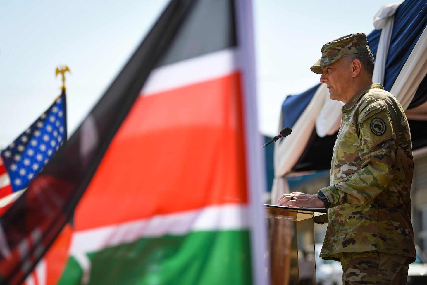 (July 26, 2021) Gen. Stephen Townsend, commander, U.S. Africa Command, delivers remarks during the opening ceremony of exercise Cutlass Express 2021 held at the Bandari Maritime Academy in Mombasa, Kenya, July 26, 2021. Cutlass Express is designed to improve regional cooperation, maritime domain awareness and information sharing practices to increase capabilities between the U.S., East African and Western Indian Ocean nations to counter illicit maritime activity.