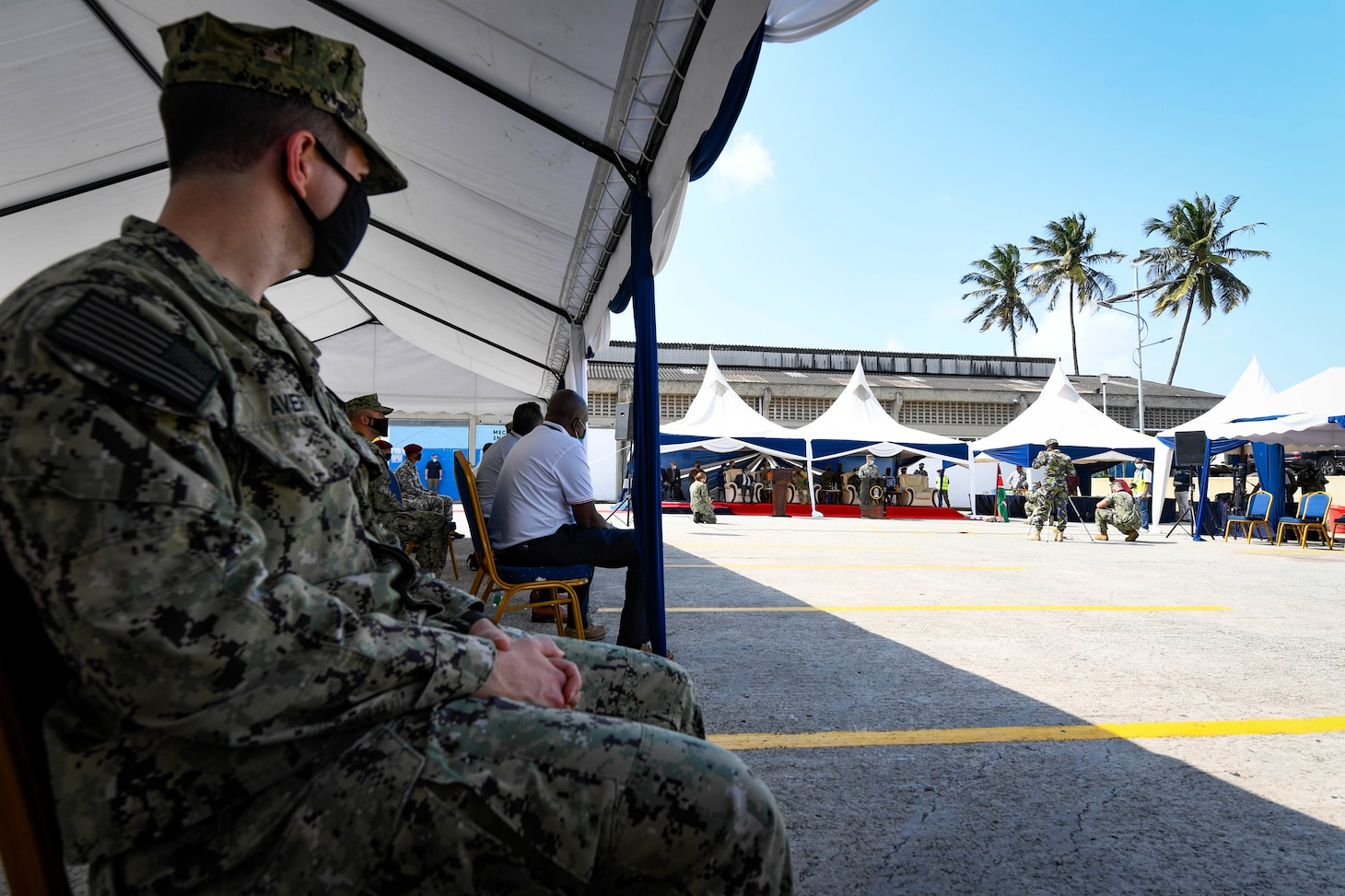 (July 26, 2021) Rear Adm. Michael Curran, Director, Readiness and Logistics, U.S. Naval Forces Europe-Africa, delivers remarks during the opening ceremony of exercise Cutlass Express 2021 held at the Bandari Maritime Academy in Mombasa, Kenya, July 26, 2021. Cutlass Express is designed to improve regional cooperation, maritime domain awareness and information sharing practices to increase capabilities between the U.S., East African and Western Indian Ocean nations to counter illicit maritime activity.