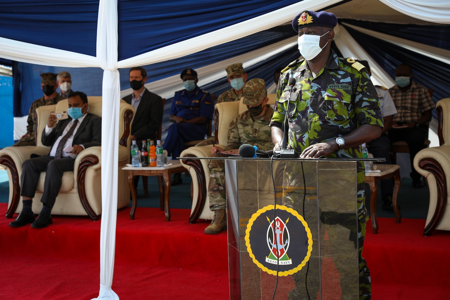 (July 26, 2021) Brig. Gen. Thomas N. Nganga, Commander, Kenya Naval Base Mtongwe, delivers remarks during the opening ceremony of exercise Cutlass Express 2021 held at the Bandari Maritime Academy in Mombasa, Kenya, July 26, 2021. Cutlass Express is designed to improve regional cooperation, maritime domain awareness and information sharing practices to increase capabilities between the U.S., East African and Western Indian Ocean nations to counter illicit maritime activity. (U.S. Navy Photo by Mass Communication Specialist 1st Class Frederick Gray)