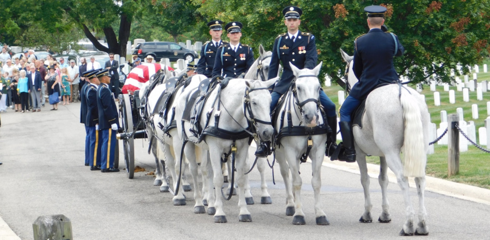 The 3rd Infantry Regiment, also known as the Old Guard, escorts the remains of Army Major Harvey Storms who was buried in Arlington National Cemetery on July 16, 2021. Major Storms was reported missing in action on Dec. 1, 1950, when his unit was attacked by enemy forces near the Chosin Reservoir, North Korea. Following the battle, his remains could not be recovered. The Defense POW/MIA Accounting Agency was able to identify the remains in 2019. (Defense Photo by Ashley M. Wright)