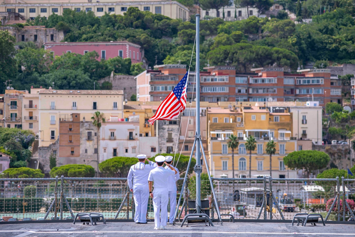 Sailors shift colors aboard the Blue Ridge-class command and control ship USS Mount Whitney (LCC 20) as the ship and embarked U.S. Sixth Fleet staff get underway from Gaeta, Italy, in preparation for Large Scale Exercise, July 27, 2021. Mount Whitney is the U.S. Sixth Fleet flagship, homeported in Gaeta, and operates with a combined crew of U.S. Sailors and Military Sealift Command civil service mariners.