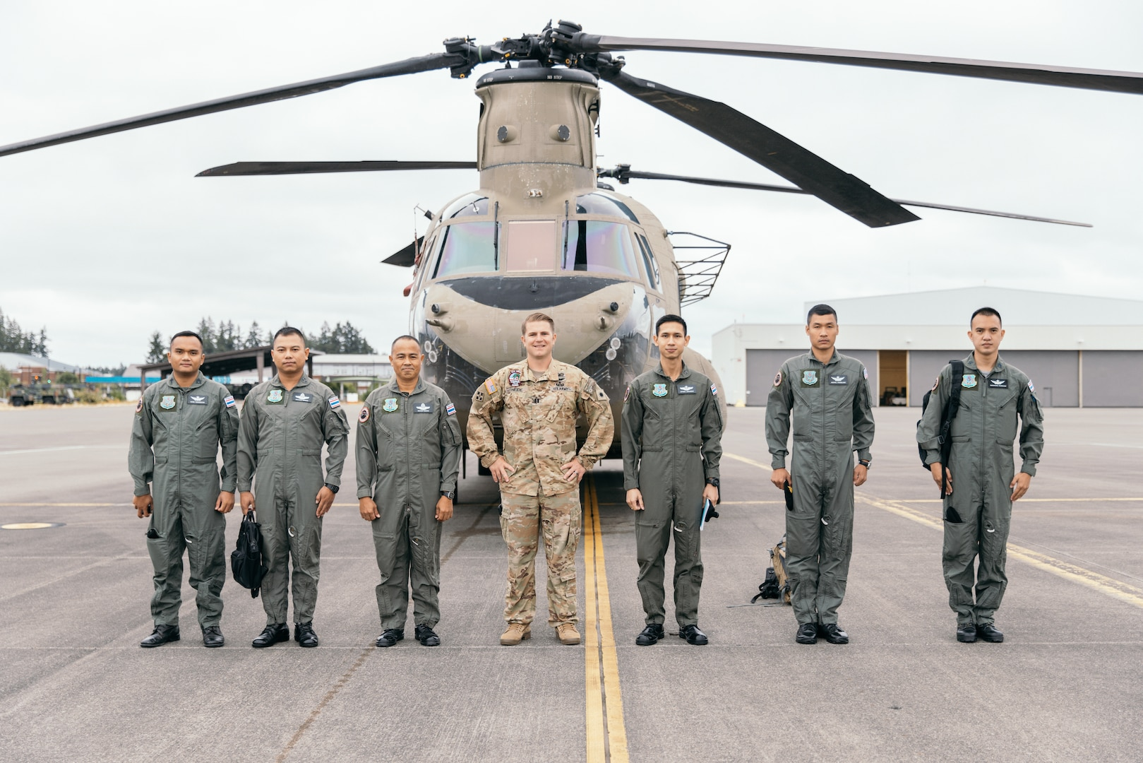 Members of the 9th Aviation Battalion from the Royal Thai Army Aviation Center traveled to Joint Base Lewis-McChord, Wash., on July 20, 2021.