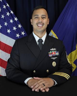 Official portrait of Fire Controlman Senior Chief Ryan K. Patricio.