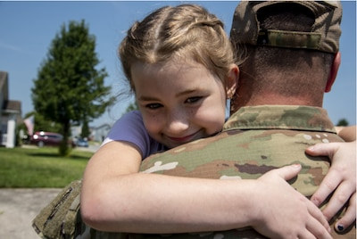 Photo By Tech. Sgt. Nicole Leidholm | Father and daughter reunite on Dover Air Force Base, Delaware, July 16, 2021. The 436th Force Support Squadron child and youth services, in coordination with the Air Force Aid Society, provide military families with free child care to offset associated costs in the absence of extended family members during unique challenges they may face. (U.S. Air Force photo by Tech. Sgt. Nicole Leidholm)