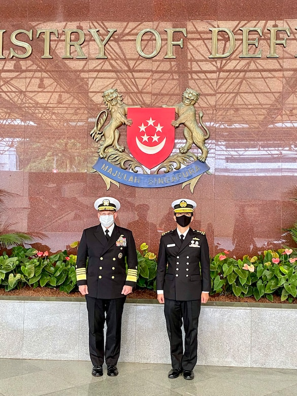 SINGAPORE (July 26, 2021) - Chief of Naval Operations (CNO) Adm. Mike Gilday meets with Chief of Navy, Republic of Singapore Navy Rear Adm. Aaron Beng during a trip to the region. Gilday visited the region to meet with senior military and government leadership to reaffirm the U.S. Navy's commitment to our partners and allies and help keep the seas open and free.(U.S. Navy photo by Cmdr. Nate Christensen/Released)