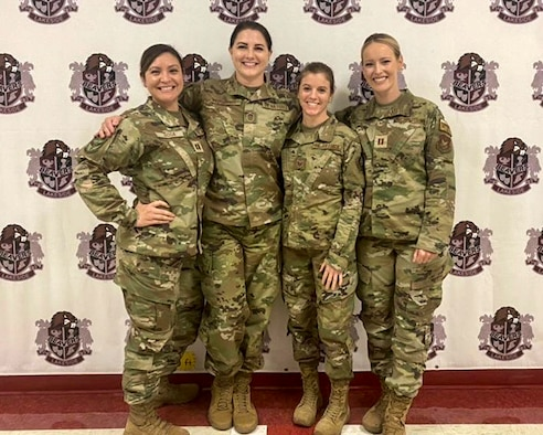 Capt. Jennifer Rosa, Master Sgt. Kristin Chandler, Tech. Sgt. Jennifer Wilmot, and Capt. Kaitlyn Olive, 403rd Aeromedical Staging Squadron from Keesler Air Force Base, Miss., provided healthcare to three communities in three states as part of Delta Wellness Mission 2021, which ran from July 6 - 20, 2021. (U.S. Air Force courtesy photo)