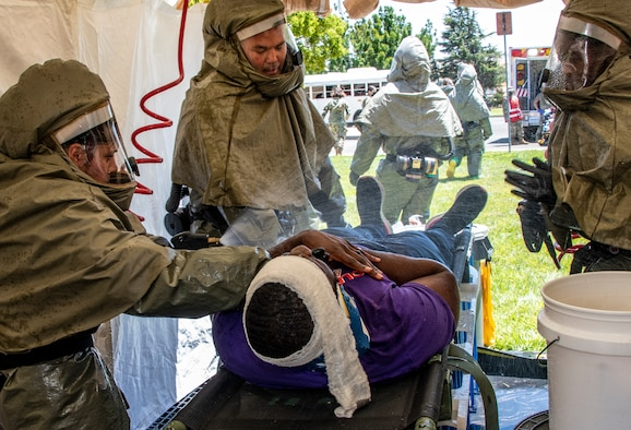Airmen participating in a medical training exercise