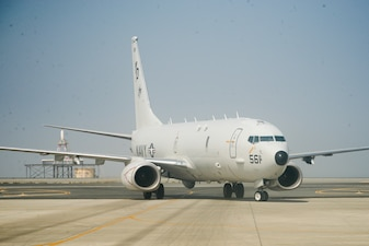 """A P-8A Poseidon maritime patrol and reconnaissance aircraft, attached to the """"Skinny Dragons"""" of Patrol Squadron (VP) 4, deployed with Commander, Task Force (CTF) 57, taxis on a runway in the U.S. 5th Fleet area of operations."""