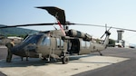 A UH-60V Black Hawk helicopter is secured after being flown to Fort Indiantown Gap, Pa., on July 27, 2021. The Pennsylvania National Guard's Eastern Army National Guard Aviation Training Site received the first fielding of UH-60V Black Hawks from the Utility Helicopter Program Office