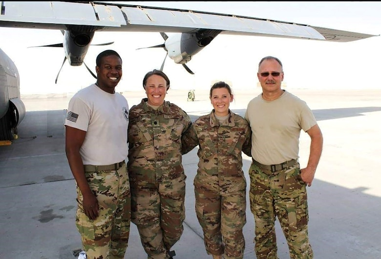 Lt. Col. Dana Dallas, second from left, along with fellow Reservists from the 914th Aeromedical Evacuation Squadron, Niagara Falls Air Reserve Station, New York. Dallas has been a Reserve Citizen Airman for 21 years. (Courtesy photo)