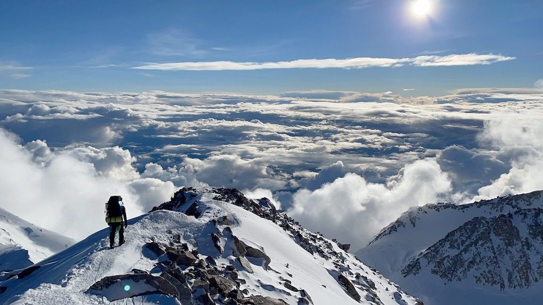 Two Reserve Citizen Airmen were part of a five-person team of mountaineers who attempted to climb the highest peak in North America recently to emphasize the importance of proactive resilience. (Lt. Col. Rob Marshall)