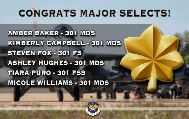 301st Fighter Wing Commander Col. Allen Duckworth announces the latest wing officers who met all the requirements needed to be selected to promote to the rank of major. (U.S. Air Force graphic by Jeremy Roman)
