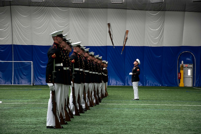 A platoon performs.