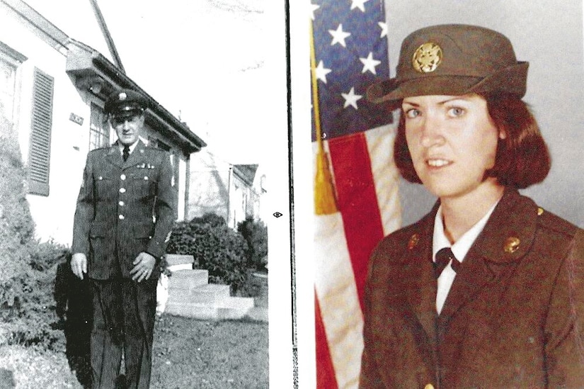 Photo montage with two photos, each of a soldier.