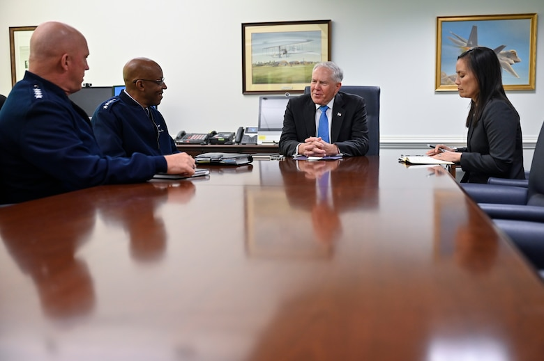 """Secretary of the Air Force Frank Kendall speaks with Chief of Space Operations Gen. John W. """"Jay"""" Raymond, Air Force Chief of Staff Gen. CQ Brown, Jr. and Under Secretary of the Air Force Gina Ortiz Jones during his first meeting with the Department of the Air Force's service chiefs at the Pentagon, Arlington, Va., July 28, 2021. (U.S. Air Force photo by Eric Dietrich)"""