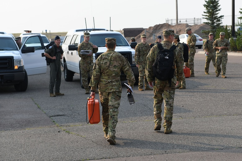 Missileers from the 12th Missile Squadron and chefs from the 341st Force Support Squadron prepare to deploy to the missile field July 21, 2021, at Malmstrom Air Force Base, Mont.