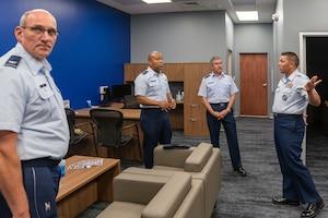Airmen touring facility.