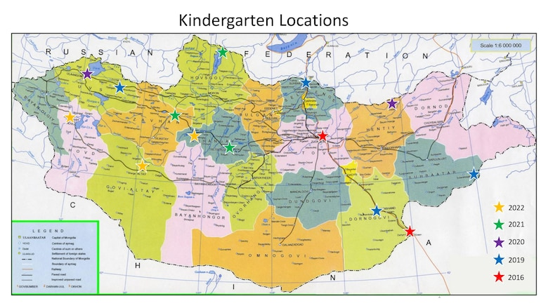 Currently, the U.S. Army Corps of Engineers – Alaska District is overseeing the design and construction of kindergartens throughout Mongolia. This map shows the country, kindergarten locations and scheduled completion dates.