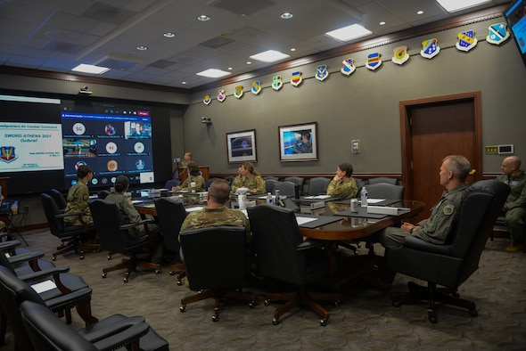 Military members in conference room