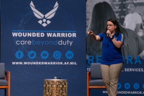 Retired Chief Master Sgt. Ruth Urbina, a U.S. Air Force Wounded Warrior program ambassador, shares her battle with post traumatic stress disorder with Airmen July 28, 2021, at Patrick Space Force Base, Florida. Urbina served more than two decades in the communications career field. (U.S. Space Force photo by Joshua Conti)
