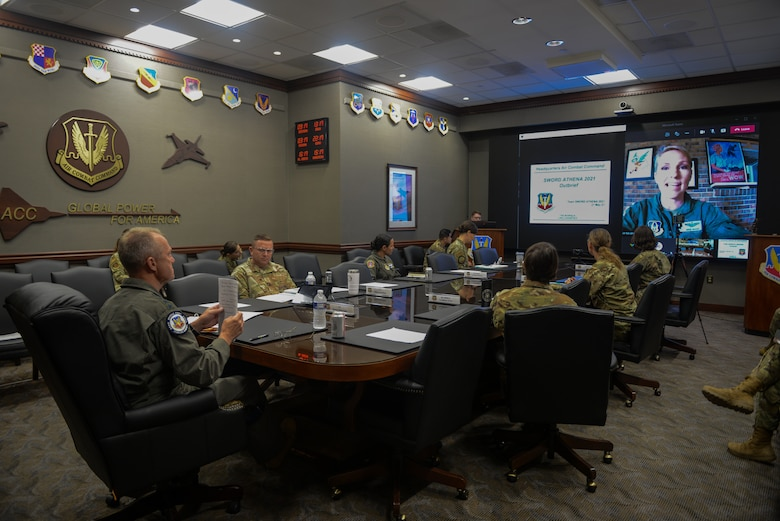 U.S. Air Force Gen. Mark Kelly, commander of Air Combat Command, listens to the out-brief of the second annual Sword Athena 2021.