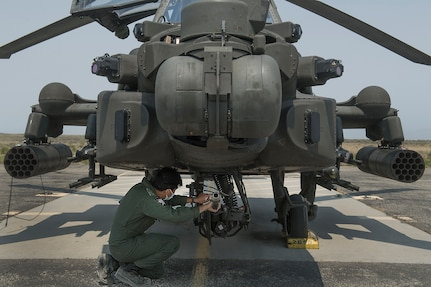 The Idaho Army National Guard's Orchard Combat Training Center hosted elements of the Republic of Singapore Air Force in July. Based in Arizona, the Singapore contingent operates eight AH-64 Apache helicopters as part of the Peace Vanguard Task Force.