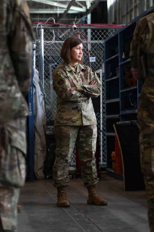 Chief Master Sergeant of the Air Force JoAnne S. Bass stands with her arms crossed.
