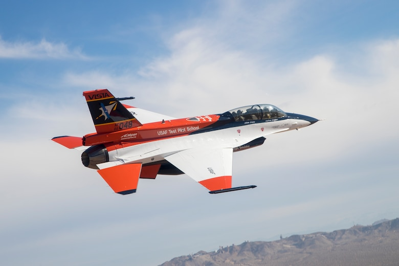 The Variable In-flight Simulator Aircraft (VISTA) flies in the skies over Edwards Air Force Base, California, shortly after receiving its new paint scheme in early 2019. The aircraft was resdesignated from NF-16D to the X-62A, June 14, 2021. (Air Force photo by Christian Turner)