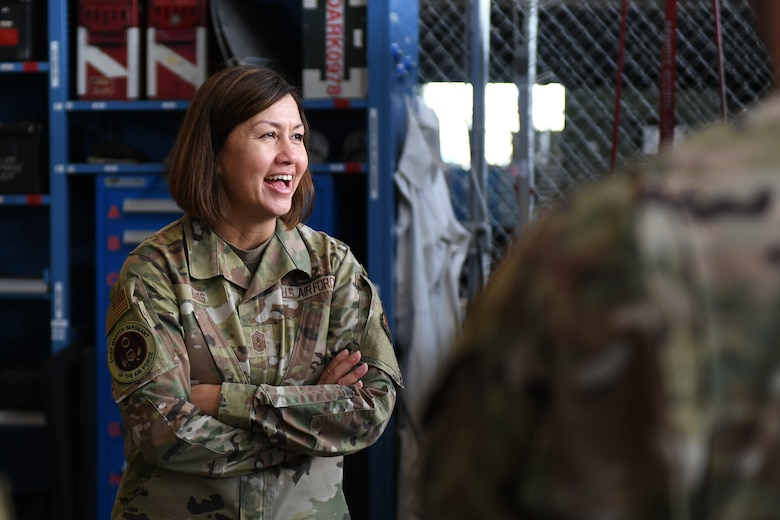 Chief Master Sergeant of the Air Force JoAnne S. Bass laughs