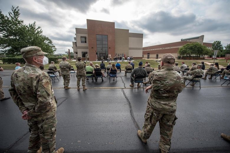 Current and retired members of the 123rd Airlift Wing joined friends and family for the dedication of a new Response Forces Facility at the Kentucky Air National Guard Base in Louisville, Ky., July 30, 2021. The 28,000-square-foot building will house the 123rd Security Forces Squadron, the 123rd Contingency Response Group, a Fatality Search and Recovery Team, and a medical detachment for the state's Chemical, Biological, Radiological, Nuclear and high-yield Explosive Enhanced Response Force Package. (U.S. Air National Guard photo by Phil Speck)
