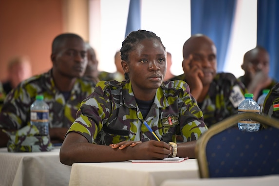 (July 30, 2021) A Kenyan Sailor attends maritime smuggling techniques, trends, and threats training during exercise Cutlass Express 2021 at the Bandari Maritime Academy in Mombasa, Kenya, July 30, 2021. Cutlass Express is designed to improve regional cooperation, maritime domain awareness and information sharing practices to increase capabilities between the U.S., East African and Western Indian Ocean nations to counter illicit maritime activity.