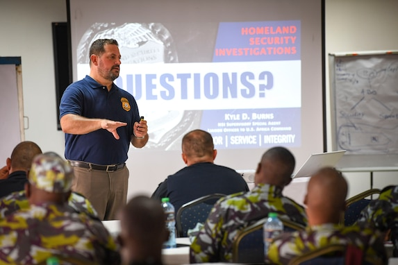(July 30, 2021) Kyle Burns, Homeland Security Investigations supervisory special agent, discusses maritime smuggling techniques, trends, and threats during exercise Cutlass Express 2021 at the Bandari Maritime Academy in Mombasa, Kenya, July 30, 2021. Cutlass Express is designed to improve regional cooperation, maritime domain awareness and information sharing practices to increase capabilities between the U.S., East African and Western Indian Ocean nations to counter illicit maritime activity.