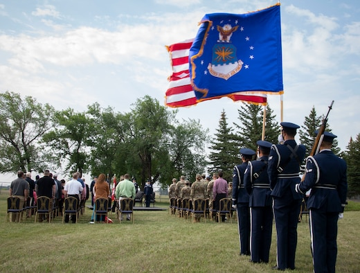 The 319th Reconnaissance Wing honor guard prepares to march during the renaming ceremony at Cavalier Space Force Station, N.D., July 30, 2021.