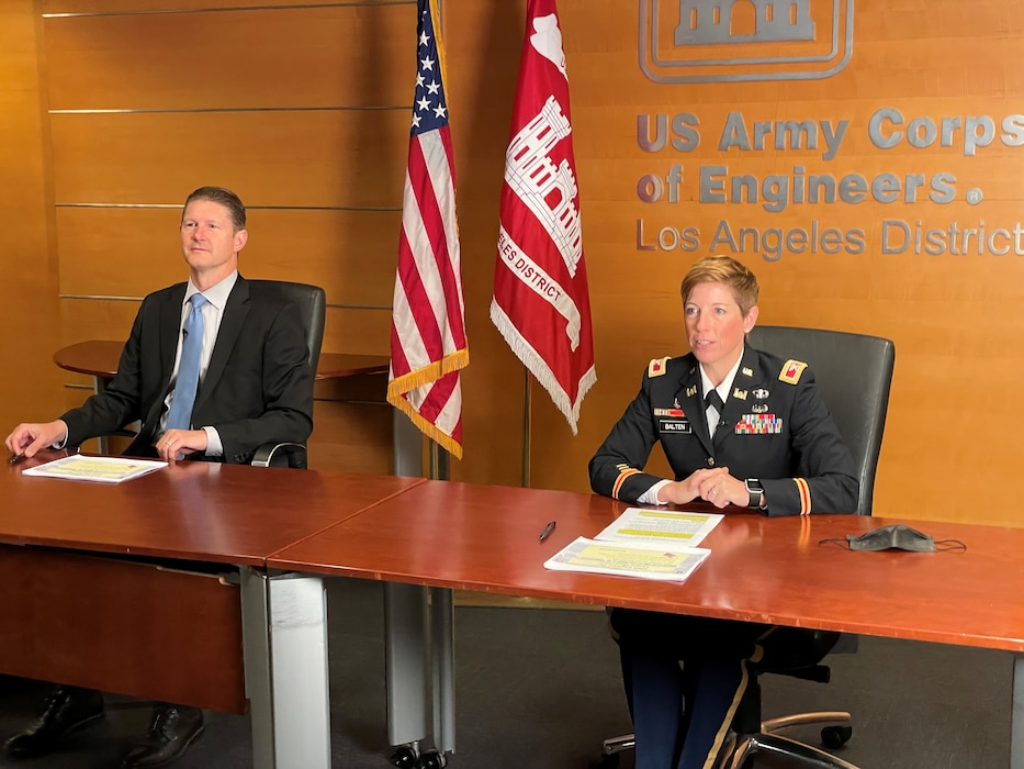 Col. Julie Balten, right, LA District commander, joins David Van Dorpe, district deputy commander, at the district headquarters conference room to host the 246th Engineer Day virtual event July 29, 2021, which was broadcast via YouTube live.