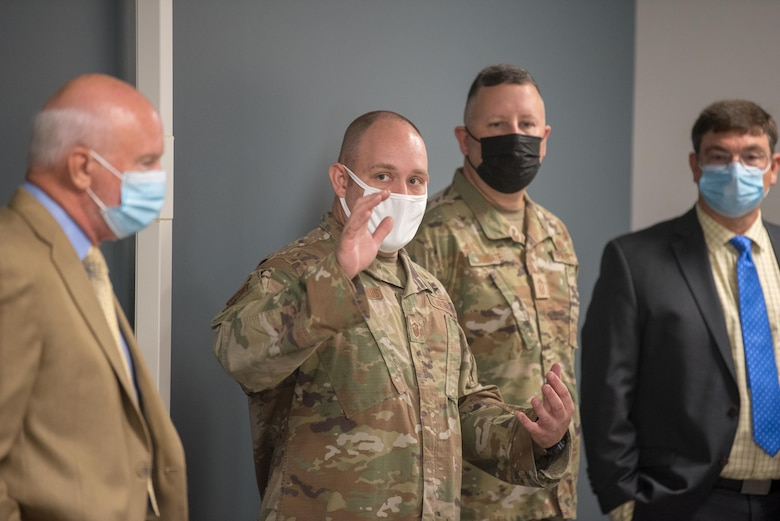 Master Sgt. Nicholas Stavropoulos, an aerial port supervisor in the 123rd Global Mobility Squadron, talks about enhanced facilities during a tour of the new Response Forces Facility at the Kentucky Air National Guard Base in Louisville, Ky., July 30, 2021. The 28,000-square-foot building will house the 123rd Security Forces Squadron, the 123rd Contingency Response Group, a Fatality Search and Recovery Team, and a medical detachment for the state's Chemical, Biological, Radiological, Nuclear and high-yield Explosive Enhanced Response Force Package. (U.S. Air National Guard photo by Phil Speck)