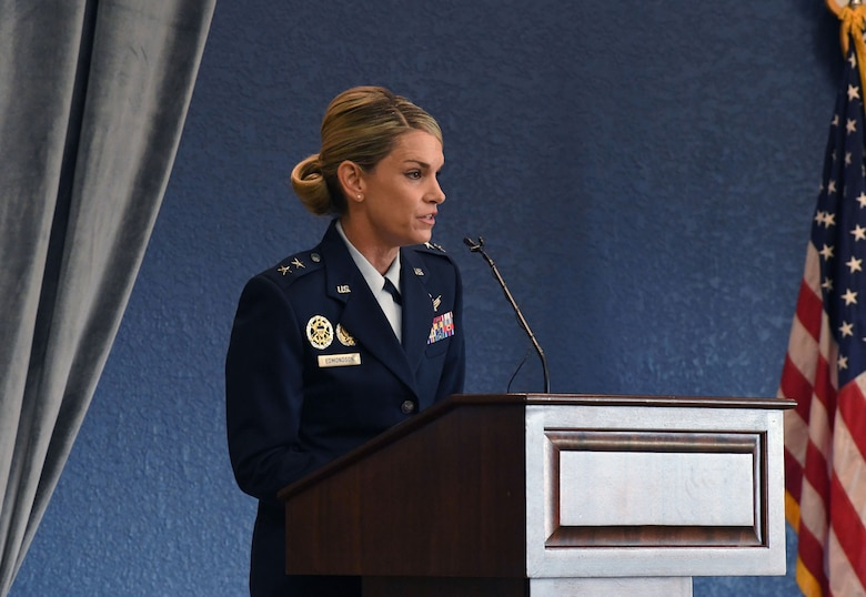 U.S. Air Force Maj. Gen. Michele Edmondson, Second Air Force commander, delivers remarks during the Second Air Force change of command ceremony inside the Bay Breeze Event Center at Keesler Air Force Base, Mississippi, July 30, 2021. The ceremony is a symbol of command being exchanged from one commander to the next. Edmondson assumed command of the Second Air Force from Maj. Gen. Andrea Tullos. (U.S. Air Force photo by Kemberly Groue)