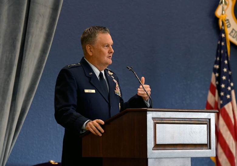 U.S. Air Force Lt. Gen. Brad Webb, commander of Air Education and Training Command, delivers remarks during the Second Air Force change of command ceremony inside the Bay Breeze Event Center at Keesler Air Force Base, Mississippi, July 30, 2021. The ceremony is a symbol of command being exchanged from one commander to the next. Maj. Gen. Andrea Tullos relinquished command of the Second Air Force to Maj. Gen. Michele Edmondson. (U.S. Air Force photo by Kemberly Groue)