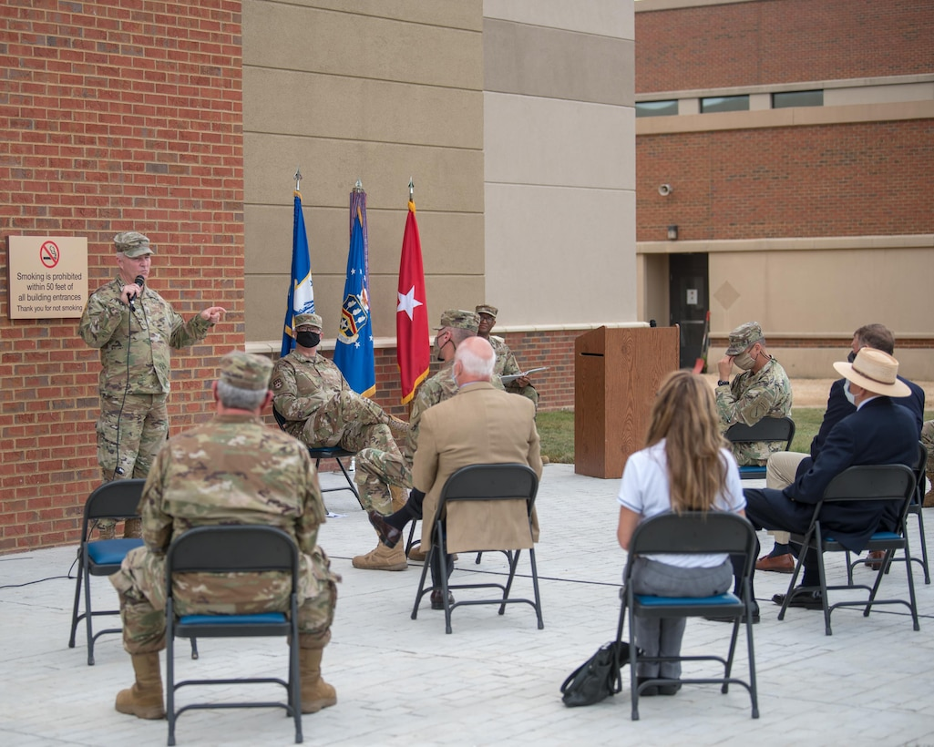 Brig. Gen. Hal Lamberton, adjutant general for the Commonwealth of Kentucky, speaks during the ceremony to dedicate a new Response Forces Facility at the Kentucky Air National Guard Base in Louisville, Ky., July 30, 2021. The 28,000-square-foot building will house the 123rd Security Forces Squadron, the 123rd Contingency Response Group, a Fatality Search and Recovery Team, and a medical detachment for the state's Chemical, Biological, Radiological, Nuclear and high-yield Explosive Enhanced Response Force Package. (U.S. Air National Guard photo by Phil Speck)