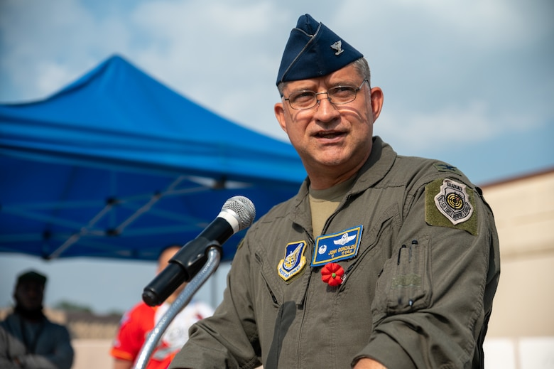 U.S. Air Force Col. John Gonzales, 51st Fighter Wing commander, speaks during a Memorial Day remembrance event at Osan Air Base, Republic of Korea, May 28, 2021. Memorial Day started as an event to honor Union soldiers who died during the American Civil War. (U.S. Air Force photo by Senior Airman Branden Rae)
