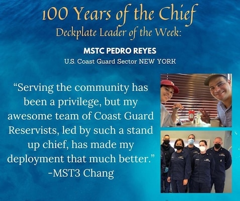 Our Leader of the Week nomination comes from Petty Officer 3rd Class Joe Chang, a marine science technician based out of U.S. Coast Guard New York currently on Title 10 Orders in Brooklyn, New York as part of the Covid-19 Vaccination roll out. Chang reached out to nominate his team leader, Chief Petty Officer Pedro Reyes, also a marine science technician!
