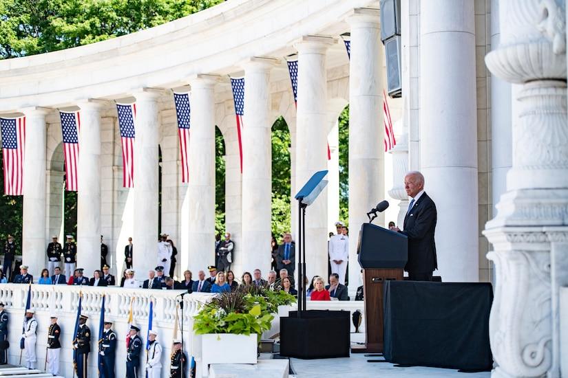 President Joe Biden speaks during Memorial Day ceremonies.