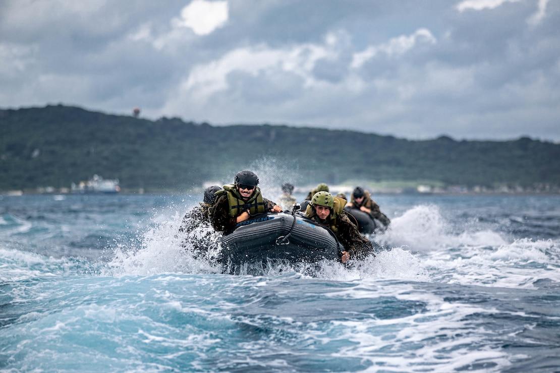 U.S. Marines train in a coxswain course at White Beach Naval Facility, Okinawa, Japan, May 27.