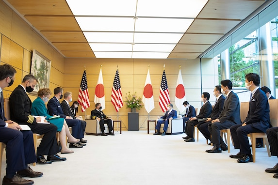 """On June 1, Defense Minister Kishi received a visit from Admiral John Aquilino, the Commander, U.S. Indo-Pacific Command. They confirmed that cooperation between the Japan Self Defense Forces and  U.S. Indo-Pacific Command is important to maintain and strengthen a """"Free and Open Indo-Pacific."""""""