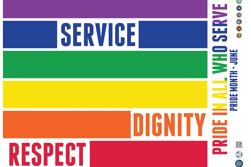 """The words """"SERVICE"""" """"DIGNITY"""" and """"RESPECT"""" appear on rainbow bars."""