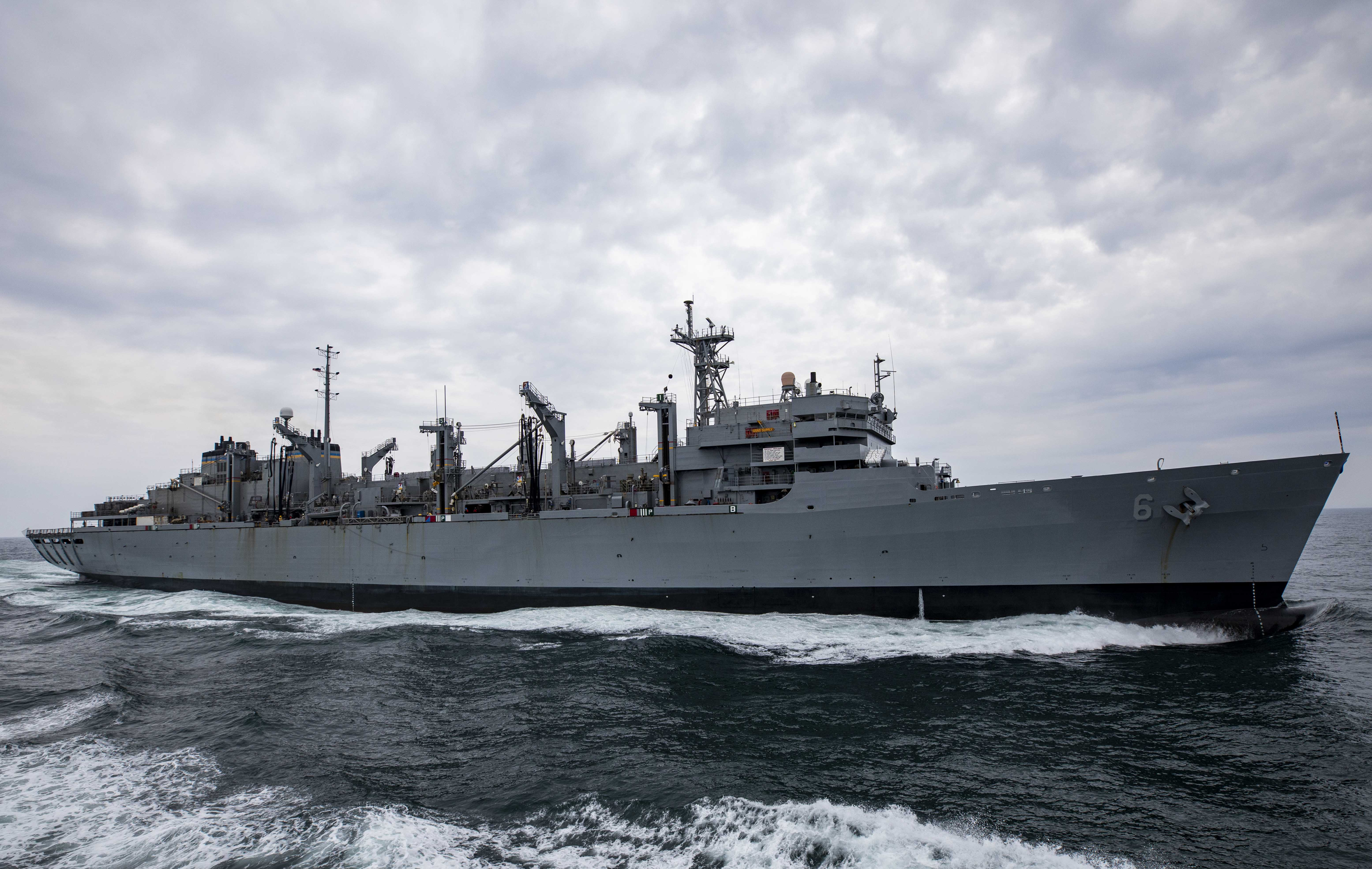 The Military Sealift Command Fast Combat Support Ship USNS Supply (T-AOE 6) transits the Atlantic Ocean during exercise At-Sea Demo/Formidable Shield.