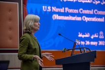 210525-N-KZ419-1070 MANAMA, Bahrain (May 25, 2021) Maggie Nardi, Chargé d'affaires of the U.S. Embassy in Bahrain, delivers remarks during a Humanitarian Operations Workshop hosted by the Bahrain Ministry of Interior, and facilitated by U.S. Naval Forces Central Command (NAVCENT) and USAID in Manama, Bahrain, May 25. NAVCENT is the U.S. Navy element of U.S. Central Command in the U.S. 5th Fleet area of operations and encompasses about 2.5 million square miles of water area that includes the Arabian Gulf, Gulf of Oman, Red Sea and parts of the Indian Ocean. (U.S. Navy photo by Mass Communication Specialist 3rd Class Dawson Roth)