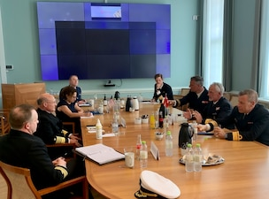 COPENHAGEN (June 1, 2021) Chief of Naval Operations (CNO) Adm. Mike Gilday meets with Chief of the Royal Danish Navy Rear Adm. Torben Mikkelsen during a visit to Copenhagen. Gilday visited Denmark tomeet with his Navy counterpart as well as other senior Danish leadership to discuss areas for continued mutual cooperation. The U.S. Navy and the Royal Danish Navy routinely operate together throughout the globe, specifically in anti-submarine warfare and integrated air and missile defense.(U.S. Navy photo by Cmdr. Nate Christensen/Released)