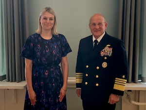 COPENHAGEN (June 1, 2021) Chief of Naval Operations (CNO) Adm. Mike Gilday meets with Danish Minister of Defence, Trine Bramsen during a visit to Copenhagen. Gilday visited Denmark tomeet with his Navy counterpart as well as other senior Danish leadership to discuss areas for continued mutual cooperation. The U.S. Navy and the Royal Danish Navy routinely operate together throughout the globe, specifically in anti-submarine warfare and integrated air and missile defense.(U.S. Navy photo by Cmdr. Nate Christensen/Released)